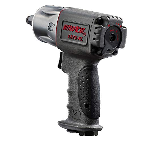 NitroCat 1375-XL 1/2-Inch Mini Composite Air Impact Wrench with Twin Clutch Mechanism