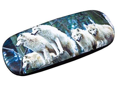PU Leder Harte Schale Brillenetui Brillen-Aufbewahrungskoffer Schutzhülle für Gläser Wolf - 04