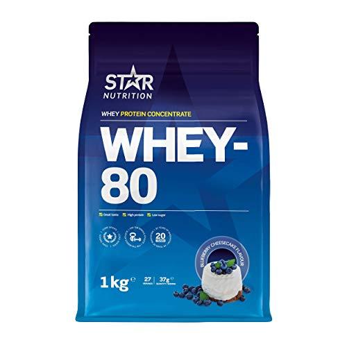 Star Nutrition® | Whey Protein Pulver 80 | Reines konzentriertes Molke Proteinpulver mit hohem Proteingehalt und niedrigem Zuckergehalt | Heidelbeer Cheesecake Geschmack | 1 kg