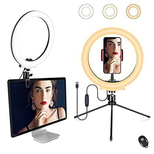 "Orieta Anillo de Luz LED con Trípode, 10"" Aro de Luz Selfie con Control Remoto, 3 Colores 10 Brillos Dimmable Beauty Desktop Anillo de luz para Youtube, TIK Tok, Live Stream,Maquillaje, Zoom"