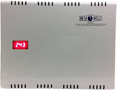 Ryoku - Hitachi AC Double Booster Metal Stabilizer with Digital Meter (White)