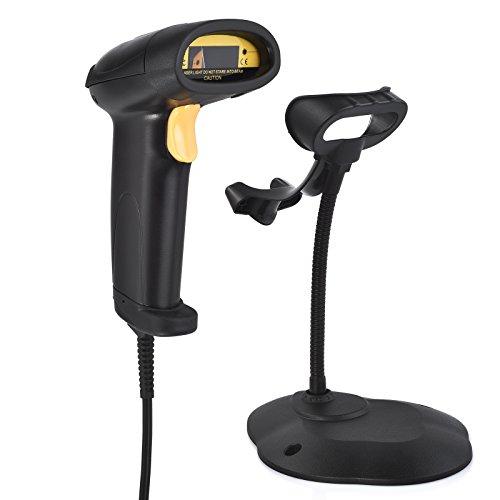 Automatisch Barcodescanner Handscanner, USB-Barcode-Scanner mit verstellbarer Halterung und bequemem Handgriff POS Laser Scanner, geeignet für Mac Win10 Win7 Win8.1 iOS7 Linux usw