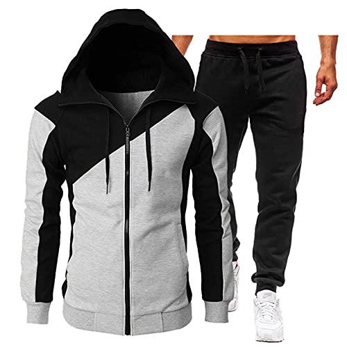 Conjunto de ropa para hombre, sudadera de manga larga con capucha y cordón de color sólido., gris claro y negro., XL