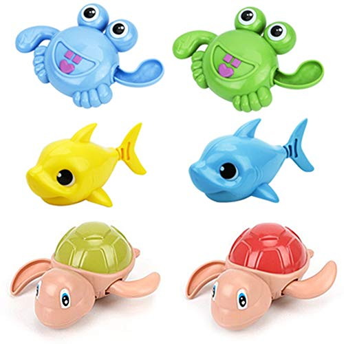 Happy Trees 6 Pcs Wind-Up Bath Toy, Swimming Pool Turtles Crabs Sharks, Colorful Floating Bathtub Water Toy for Baby Toddler