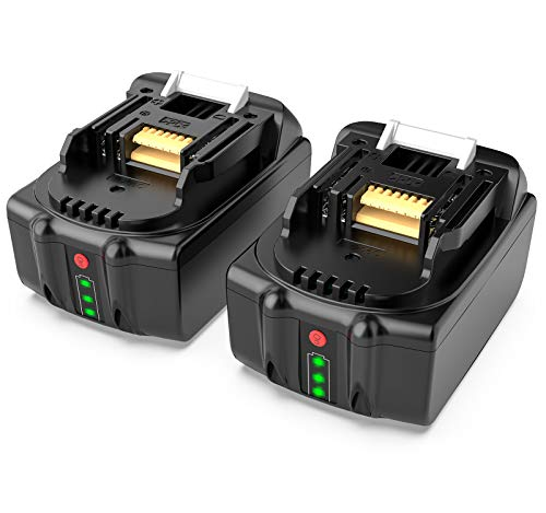 FLYLINKTECH BL1850 18V 5.0Ah Li-ion LXT Battery Pack Replacement for Makita BL1840 BL1830 BL1820 BL1815 Cordless Drills with Battery Indicator (2 Pack)