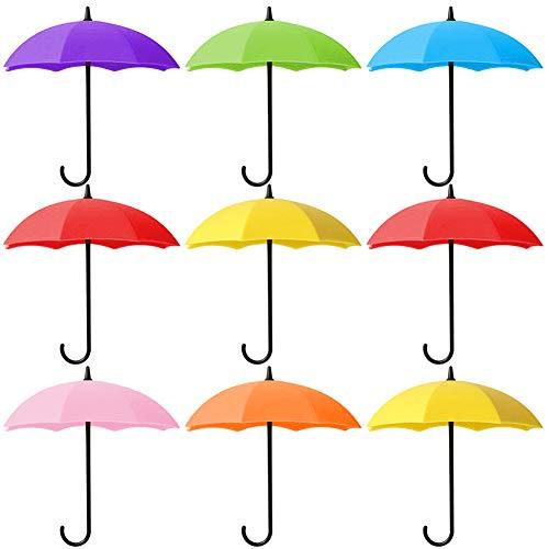 WENTS Regenschirm Haken 9 Piece Wand Haken Türhaken Schlüsselhaken Regenschirm DIY deko Haken für Schlüssel Kleider Haustür Wandhaken für Wohnzimmer Kinderzimmer Regenschirm Bunte