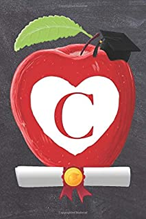 """C: Teachers Apple And White Heart Scroll Diploma And Cap Initial Monogram Letter C Personalized 6"""" x 9"""" Blank Lined Journa..."""