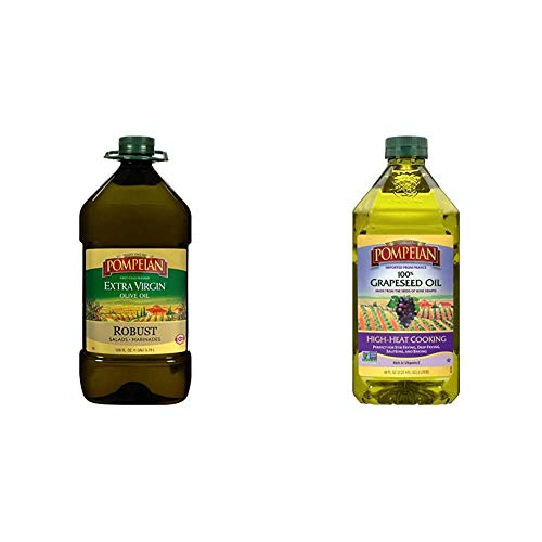 Pompeian Robust Extra Virgin Olive Oil, First Cold Pressed, Full-Bodied Flavor, Perfect for Salad Dressings and Marinades, 128 FL. OZ.,...