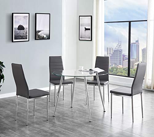 SALBAY - Juego de mesa de comedor redonda de cristal con 4 sillas de comedor de piel sintética para el hogar, cocina o sala de diing., 1 Table + 4 Chairs