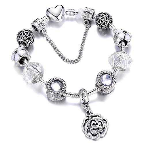 Bracciali braccialetto Gioielli,925 Fashion Silver Charms Bracelet Bangle For Women Crystal Flower Beads FitBracelets Jewelry AE0284 18cm