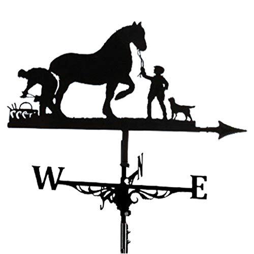 MagiDeal Dekorative Windfahne Wetterfahne Schwarz Garten Montieren Yard Stake, Edelstahl Wetterfahne Bauernhof Durable Szene - Pferd