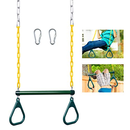 LadyRosian Trapeze Bar for Swing Set - 17'' Gym Rings Swing Set - Heavy Duty Chain Swing Set Accessories with Locking Carabiners - Swing Chains 47'' Long