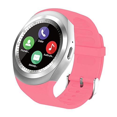 SEPVER Smartwatch Reloj Inteligente Redondo, rastreador de Ejercicios, podómetro con Ranura para Tarjeta SIM, notificaciones de Llamadas, para Android iOS Samsung Huawei para Mujeres Hombres(Rosa)