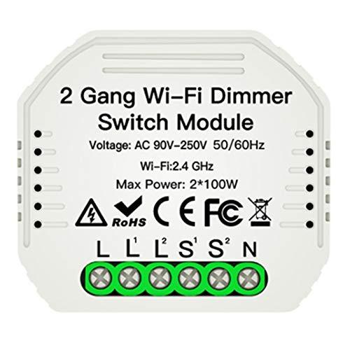 Gaetooely Interruptor de MóDulo de Atenuador LED Inteligente de 2 VíAs DIY WiFi de 2 VíAs Life/Tuya APP Control Remoto de Trabaja con Alexa
