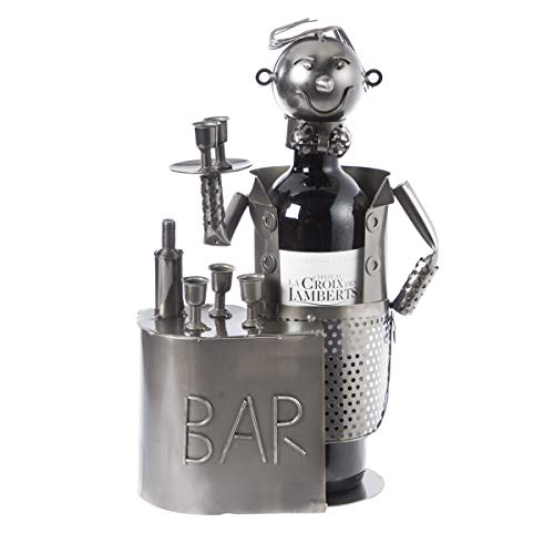 Porte bouteille, présentoir en métal barman H26cm
