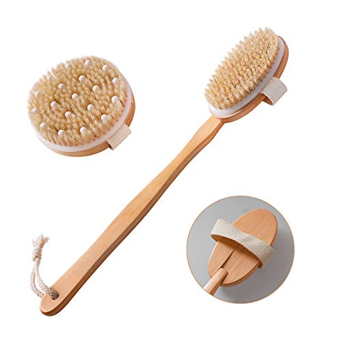 Dry Brushing Body Brush Set of 2, Natural Bristle Dry Skin Exfoliating Brush, Long Handle Back Scrubber for Shower, Dry Brush for Cellulite and Lymphatic Massage, Improve Blood Circulation