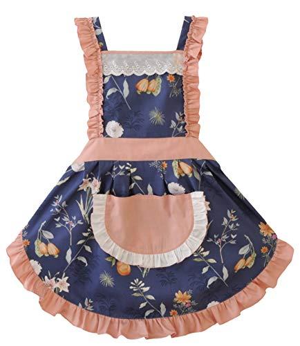 CRB Fashion Damen Kochschürze / Backschürze mit Tasche Marineblau O Flow