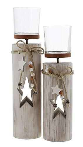 khevga Windlicht-Säule Dekoration Weihnachten im 2er Set