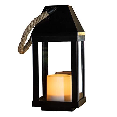 LUMI JARDIN Lanterna solare chic in legno naturale e acciaio inox manico in corda LED bianco caldo OAKY H 41 cm