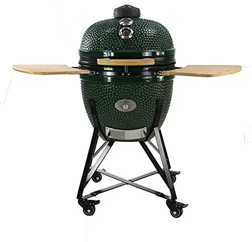 "YNNI KAMADO TQ0C25GR XL 25"" Grill, Green with Chipfeeder, BBQ, Ceramic, Egg, Smoker, TQ0C25GR"