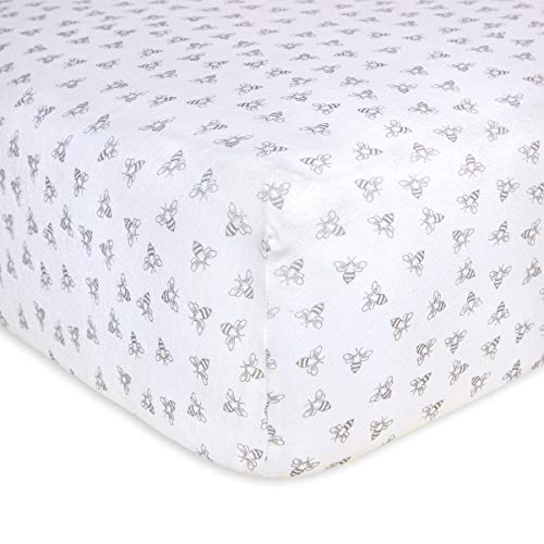 Burt's Bees Baby - Fitted Crib Sheet, Girls & Unisex 100% Organic Cotton Crib Sheet for Standard Crib and Toddler Mattresses (Heather Grey Honeybee Print)