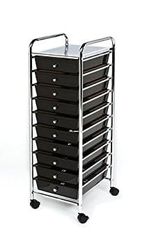 Seville Classics 10-Drawer Organizer Cart Black