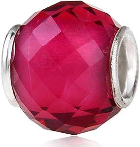Abalorio de cristal de Murano Lampwork de plata de ley 925 con piedra natal de cumpleaños encanto aniversario para pulsera Pandora (rojo claro)