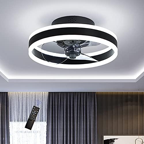 Moderna 48W LED Ventilador De Techo Con Lámpara,Con Mando A Distancia Regulable Luz Ventilador Invisible, Velocidad Del Viento Ajustable,Decoración De Interiores Plafón Iluminación, Ø40cm
