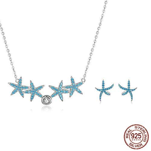 WANGGW Conjunto De Joyas para Niña Pendientes De Collar De Estrella De Mar Azul Marino Conjuntos De JoyasJoyería De PiedraAAA De Plata De Ley 925
