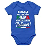 Shirtracer Sprüche Baby - Egal wie Cool Dein Papa meiner ist Italiener - 1/3 Monate - Royalblau - Babystrampler Jungen Italien - BZ10 - Baby Body Kurzarm für Jungen und Mädchen