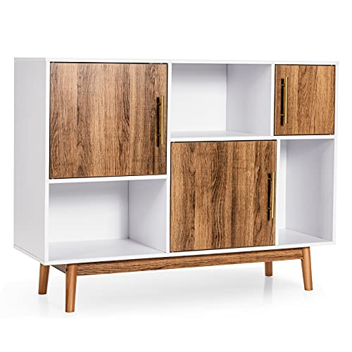 """Giantex Sideboard Storage Cabinet W/Storage Compartments, Doors and Wood Legs, Display Cupboard Cabinet for Dining Room,Entryway,Living Room Television Stand 40""""x13""""x30(White&Coffee)"""