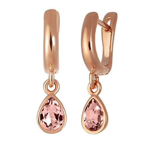 Pendientes de aro rosa con gota dorada, Latón Chapado en oro Cristal, Crystal cuarzo rosa rodocrosita,