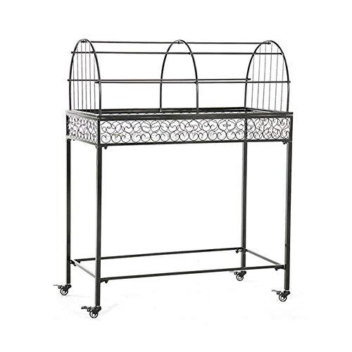 YBB-YB YankimX - Soporte para macetas de hierro para uso al aire libre multicapa, soporte para balcón, exposición, protección solar (color: 1 piso, tamaño: con toldo)