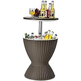 COSTWAY Cool Bar 2 en 1 Table Basse pour Cocktails 30L avec Plateau Relevable Ø 43 x 57,5-82H cm Seau à Glace Imitation…