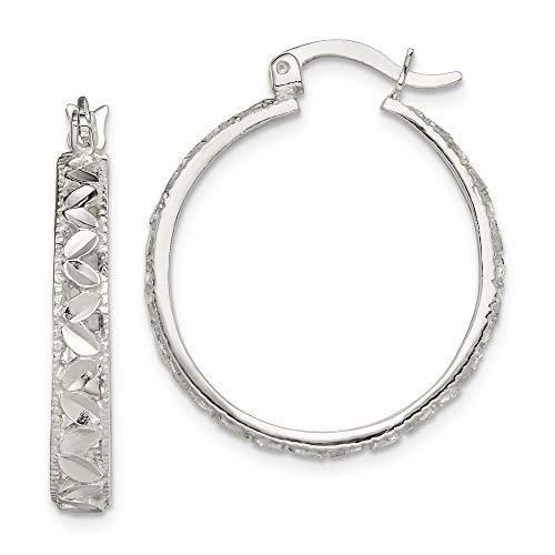 Pendientes de aro ovalados de plata de ley 925, con corte brillante, para mujer