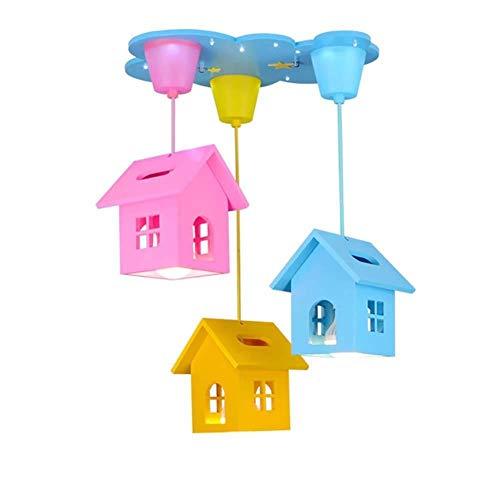 Plafondlamp Kinderkamer Kroonluchter, LED Hangende Licht Fittingen Voor Plafonds Cartoon Kleine Huis Verlichting Voor Jongens En Meisjes Slaapkamer Oogbescherming Lampen (Multi kleuren)