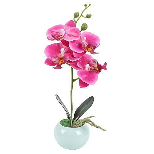 XHXSTORE Kunstpflanze Orchidee Künstliche Blumen Deko Kunstblumen im Topf Künstliche Blumen mit Keramik Übertopf Blumentöpfe Kunstpflanze Orchidea Unechte Blumen für Balkon Büro