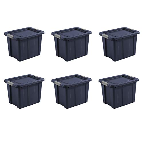 Sterilite Dark Indigo Lid & Base with Titanium Latching Tuff1 Tote, 18 Gallon, Pack of 6