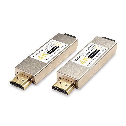 measy OPT880 - Transmisor y receptor HDMI de fibra óptica con cable (300 m), color plateado