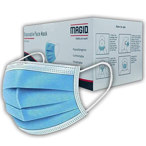 MAGID 3 Ply Disposable Face Mask with Adjustable Nose Bridge - Pack of 50 Masks - Breathable 3 Layer Face Mask Covers with Elastic String Earloops (MM005)