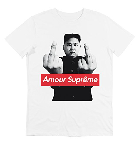 T-Shirt - Camiseta - Kim Jon UN - Amour Supreme - Supreme Leader - Fuck - Cuello Redondo - para Hombre Blanco (M)