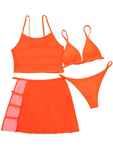 SOLY HUX Women's Triangle Bikini Bathing Suits with Cut Out Mesh Skirt 4 Piece Swimsuits Orange M