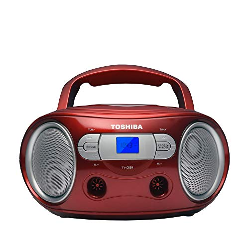 Toshiba TY-CRS9(R) Portable CD Boombox with Am/FM Stereo and Aux Input Red