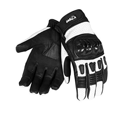 Jet Motorradhandschuhe Herren Sommer Leder Touchkompatible Fingerspitzen Handknöchelprotektor Belüftung KOBI (Weiß, XL)