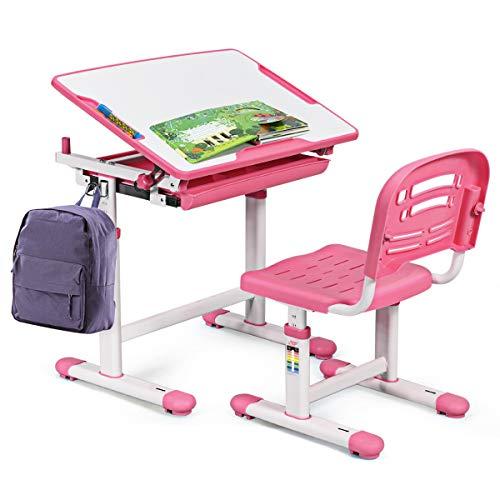 BABY JOY Kids Desk and Chair Set, Height Adjustable Child Desk Set w/Tilt Desktop, Pull Out Drawer Storage, Metal Hook, Multifunctional School Student Study Desk Chair for Boys & Girls (Pink)
