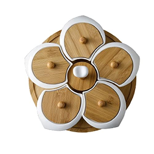 ZAIZAI Plato de Fruta de cerámica de 5 Rejillas Base de bambú Plato de Postre Plato de pétalos de Flores Plato de Frutas para Aperitivos Suministros de vajilla para Manualidades (Color : A)