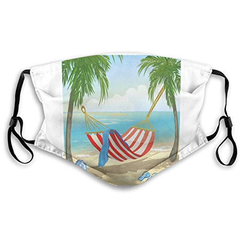 Comfortable Printed mask,Hammock Between Palm Trees On Beach Cartoon Style Illustration Digital Composition,Windproof Facial decorations for man and woman