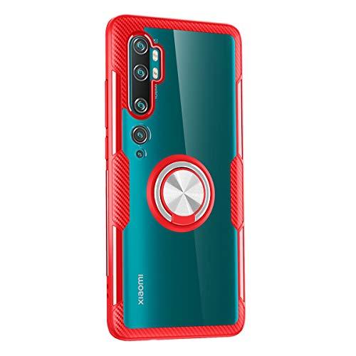 Yoodi Capa Xiaomi Mi Note 10, capa Mi Note 10 Pro, capa Mi CC9 Pro, proteção militar transparente com absorção de choque PC + capa transparente de TPU com suporte magnético – vermelho + prata