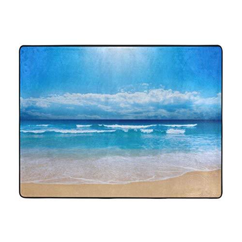 Alfombra de la habitación El Yoga playa y el cielo nublado anti de la resbalón de la alfombra por estar alfombras gruesas S del sofá del dormitorio de la sala de baño alfombra de la estera antiestátic