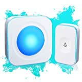 Wireless Doorbell 1000 Feet Waterproof Doorbells for Home with 36 Melodies 4 Volume levels, Flash Led Light (1 Receiver&1 Touch Button White)
